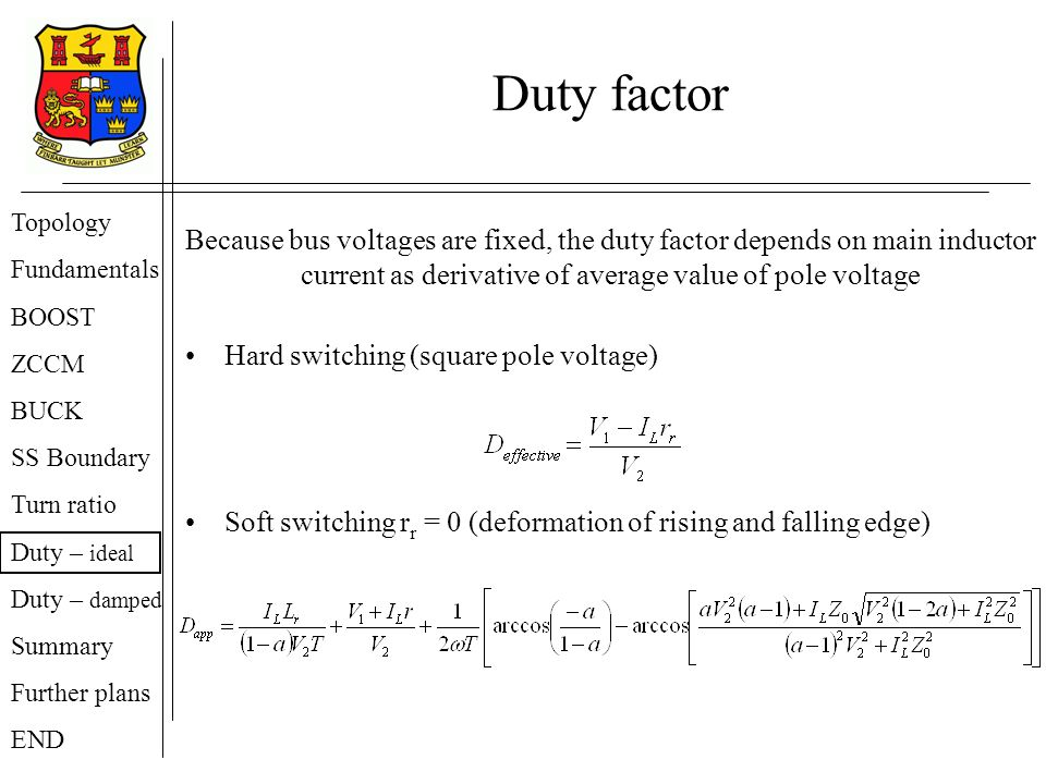 Duty factor Topology. Fundamentals. BOOST. ZCCM. BUCK. SS Boundary. Turn ratio. Duty – ideal.