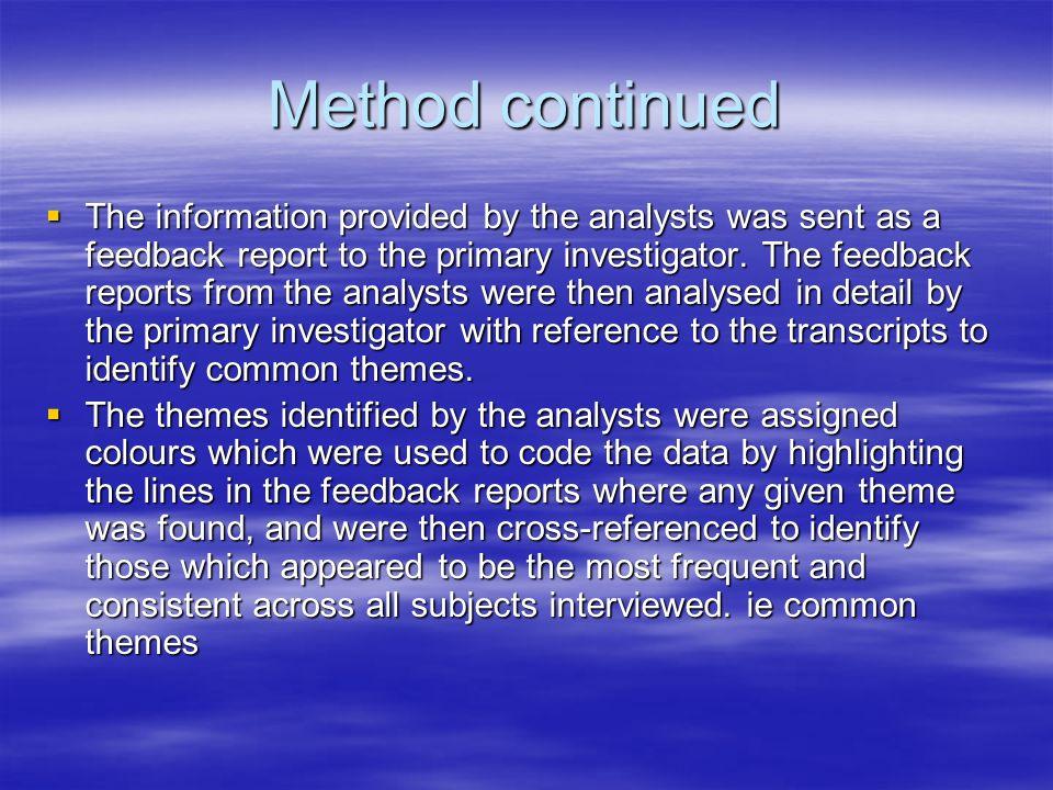 Method continued