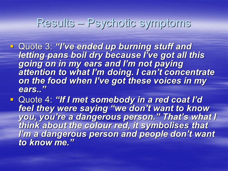 Results – Psychotic symptoms