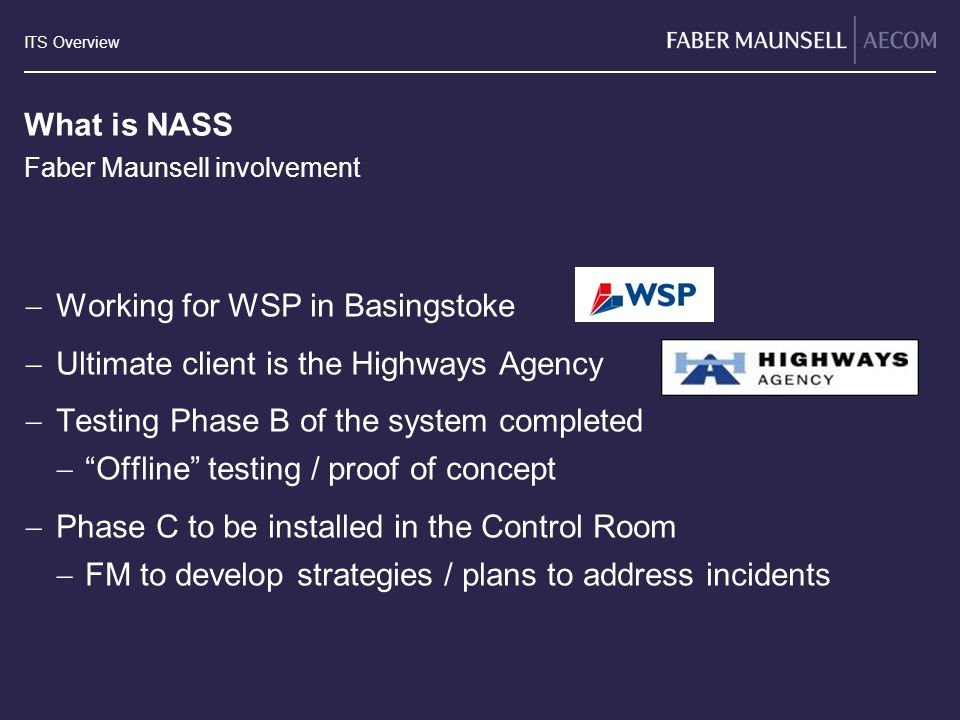 Working for WSP in Basingstoke Ultimate client is the Highways Agency