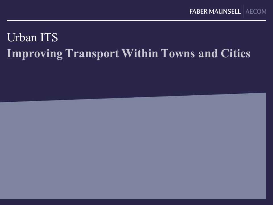 Improving Transport Within Towns and Cities