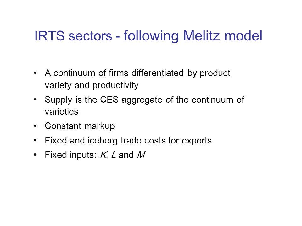 IRTS sectors - following Melitz model