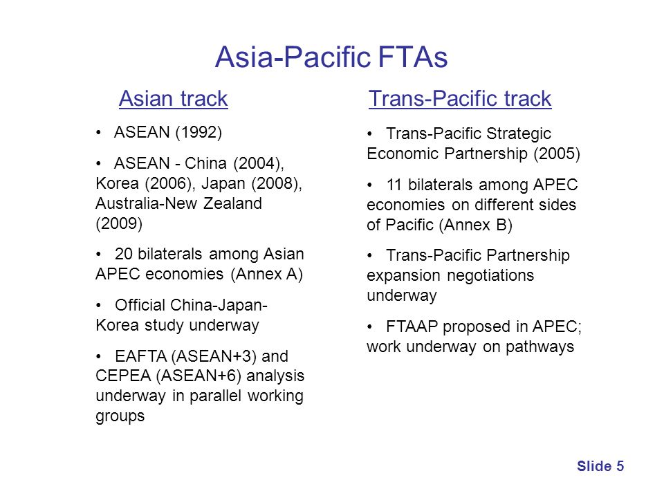 Asia-Pacific FTAs Asian track Trans-Pacific track