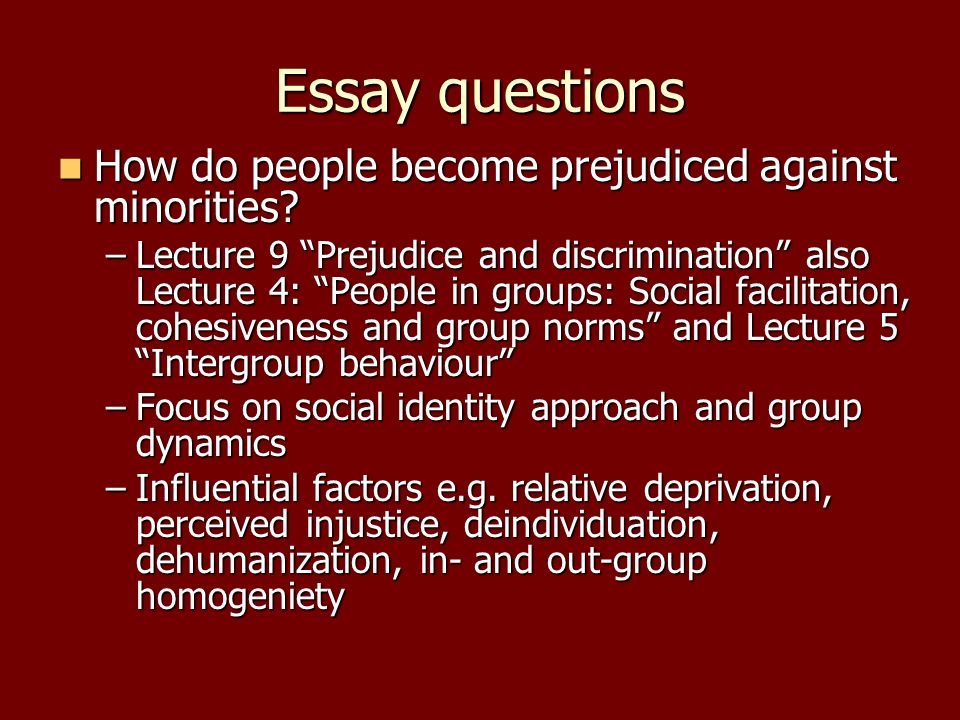 Essay questions How do people become prejudiced against minorities