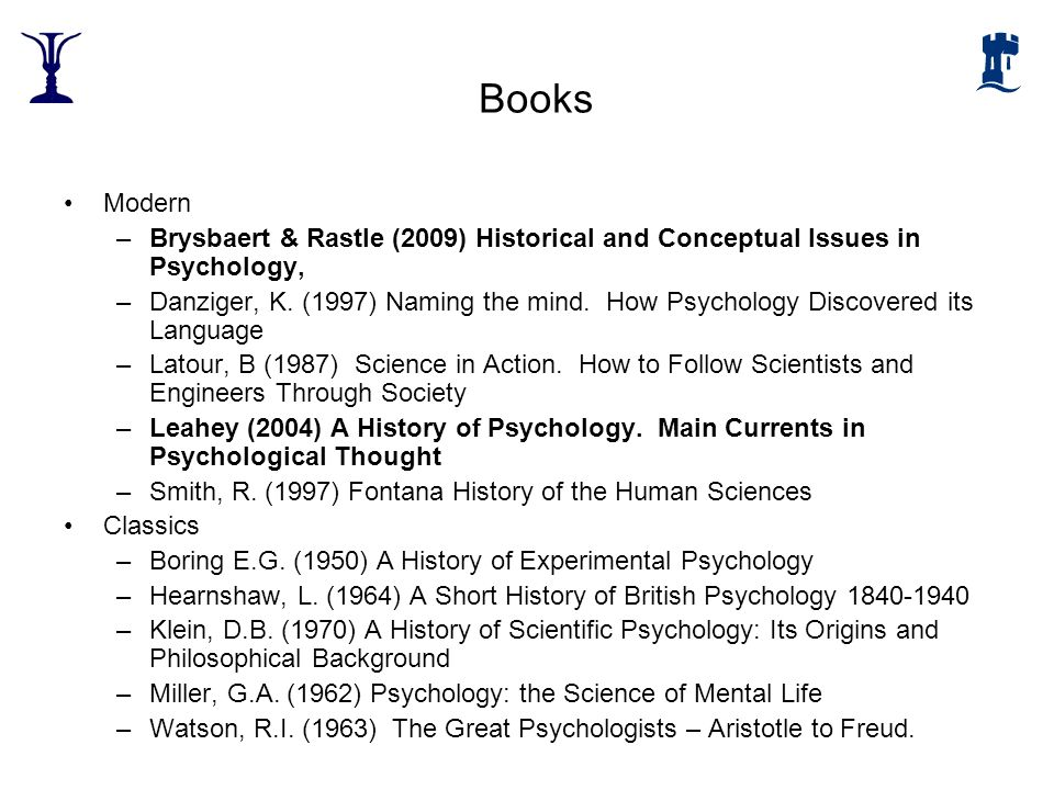 Books Modern. Brysbaert & Rastle (2009) Historical and Conceptual Issues in Psychology,