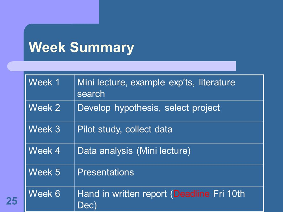 Week Summary Week 1 Mini lecture, example exp'ts, literature search