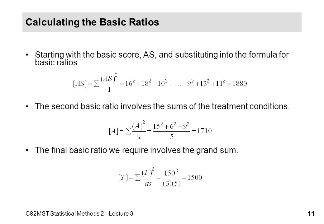 Calculating the Basic Ratios