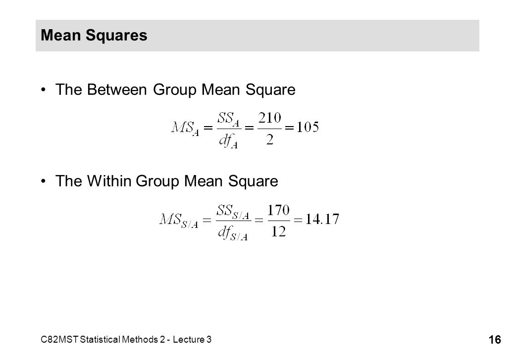 Mean Squares The Between Group Mean Square The Within Group Mean Square
