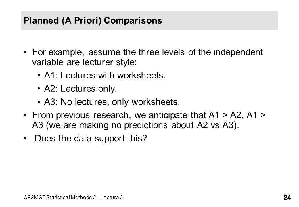 Planned (A Priori) Comparisons