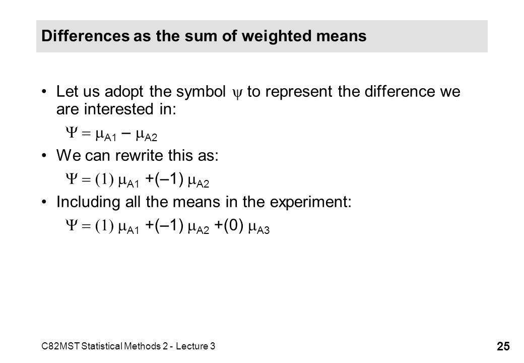Differences as the sum of weighted means
