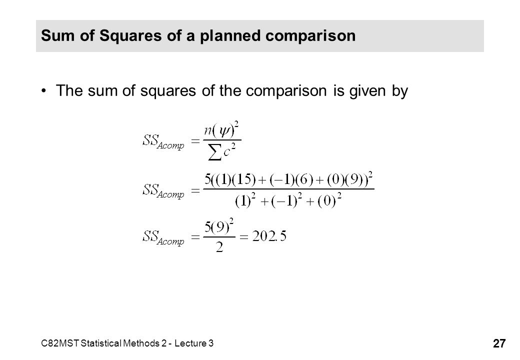 Sum of Squares of a planned comparison
