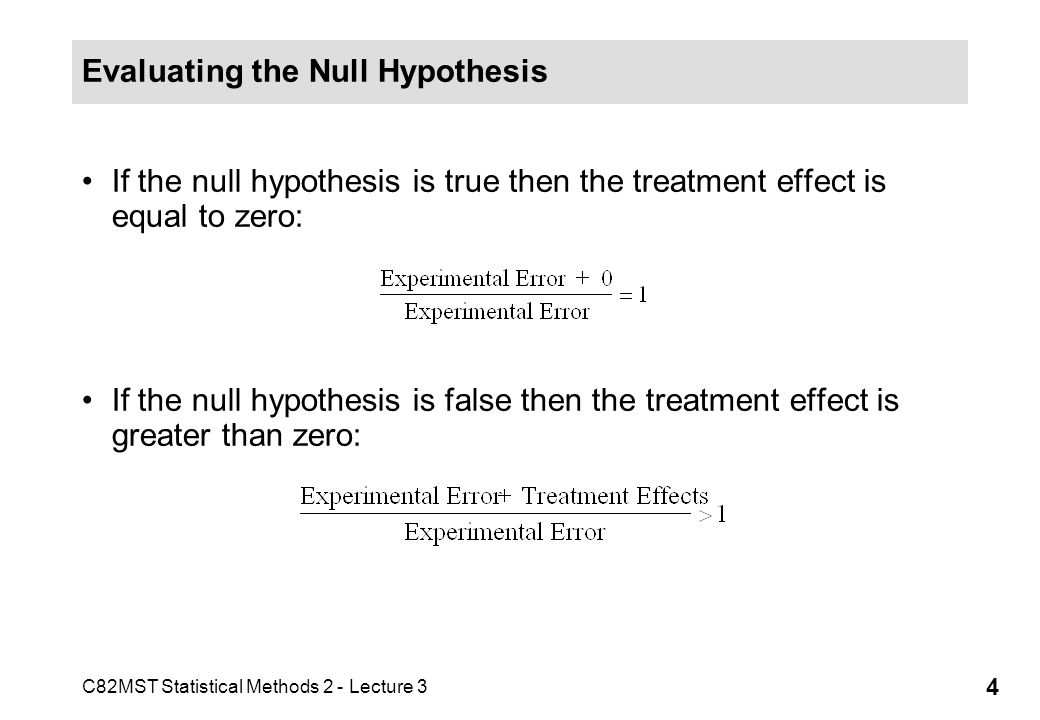 Evaluating the Null Hypothesis
