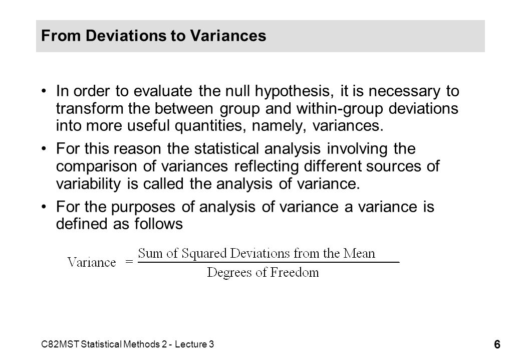 From Deviations to Variances