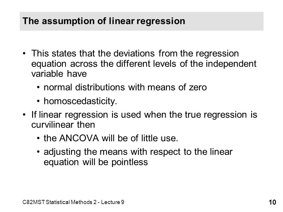 The assumption of linear regression
