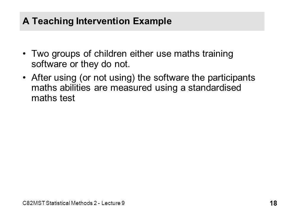 A Teaching Intervention Example