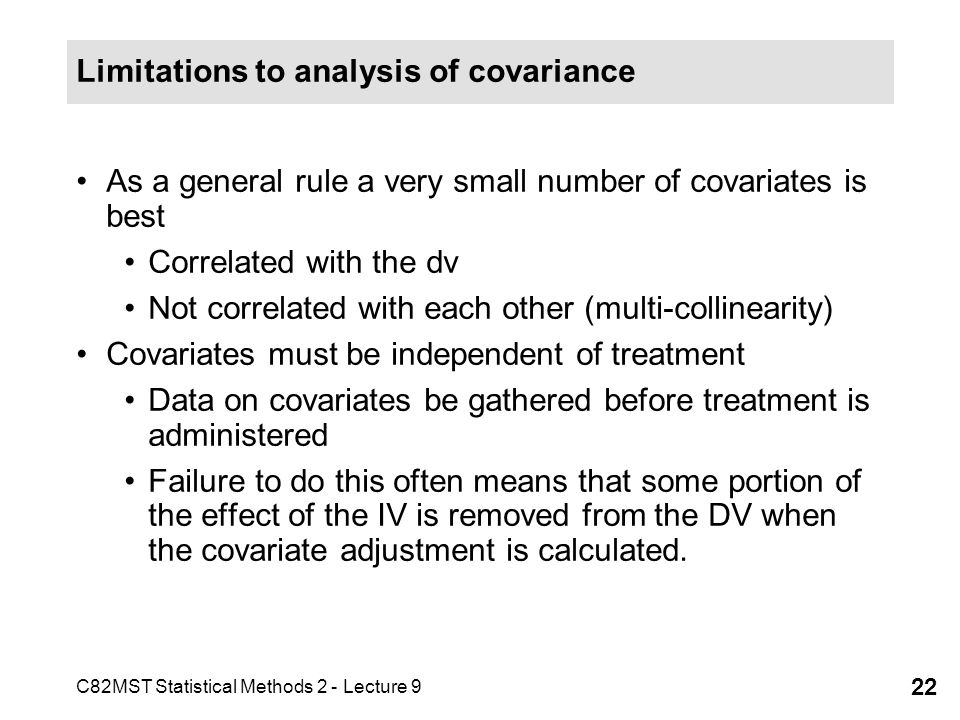 Limitations to analysis of covariance