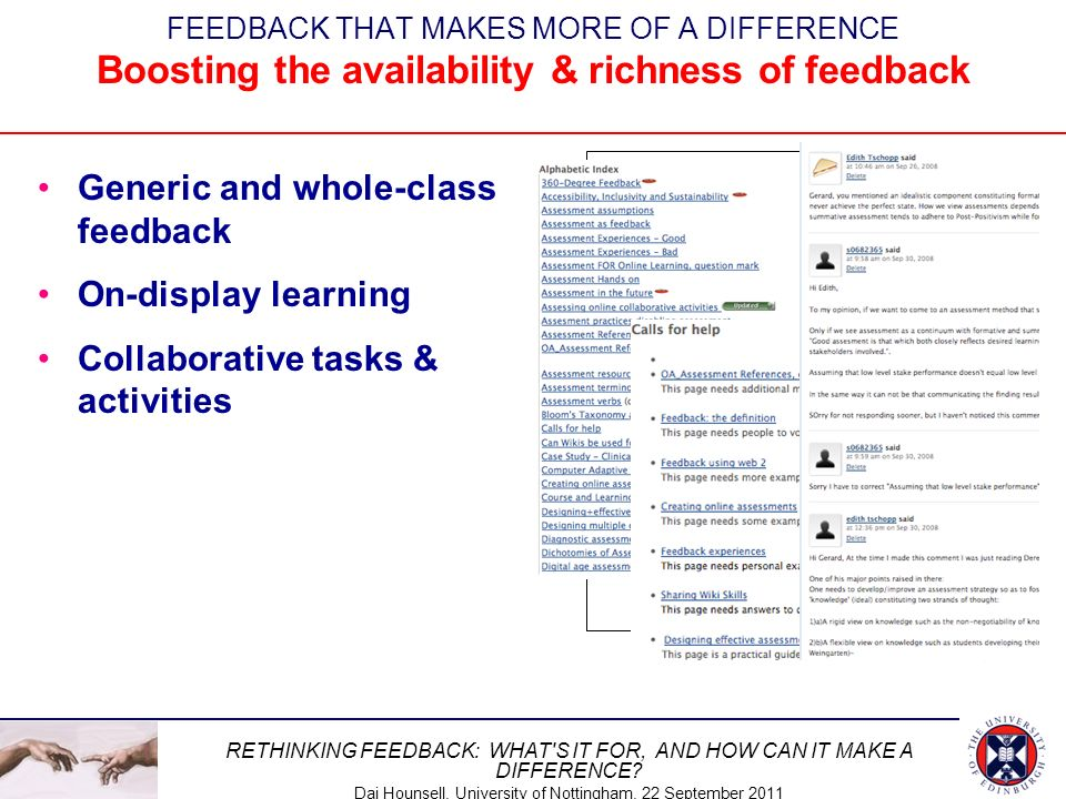 Generic and whole-class feedback On-display learning