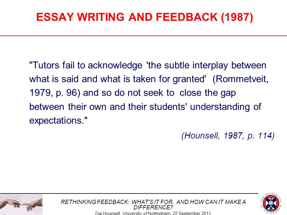 ESSAY WRITING AND FEEDBACK (1987)