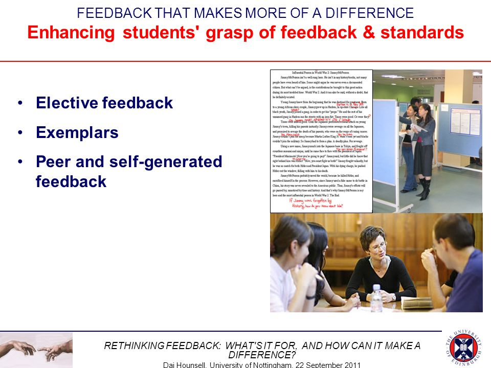 Peer and self-generated feedback