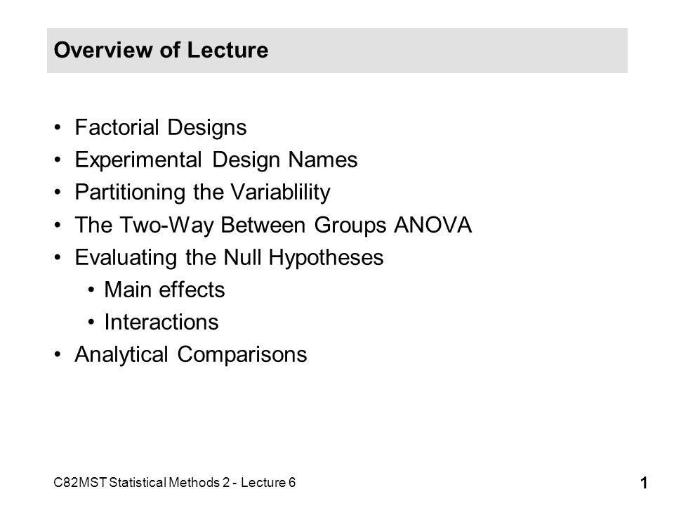 Overview of Lecture Factorial Designs. Experimental Design Names. Partitioning the Variablility. The Two-Way Between Groups ANOVA.