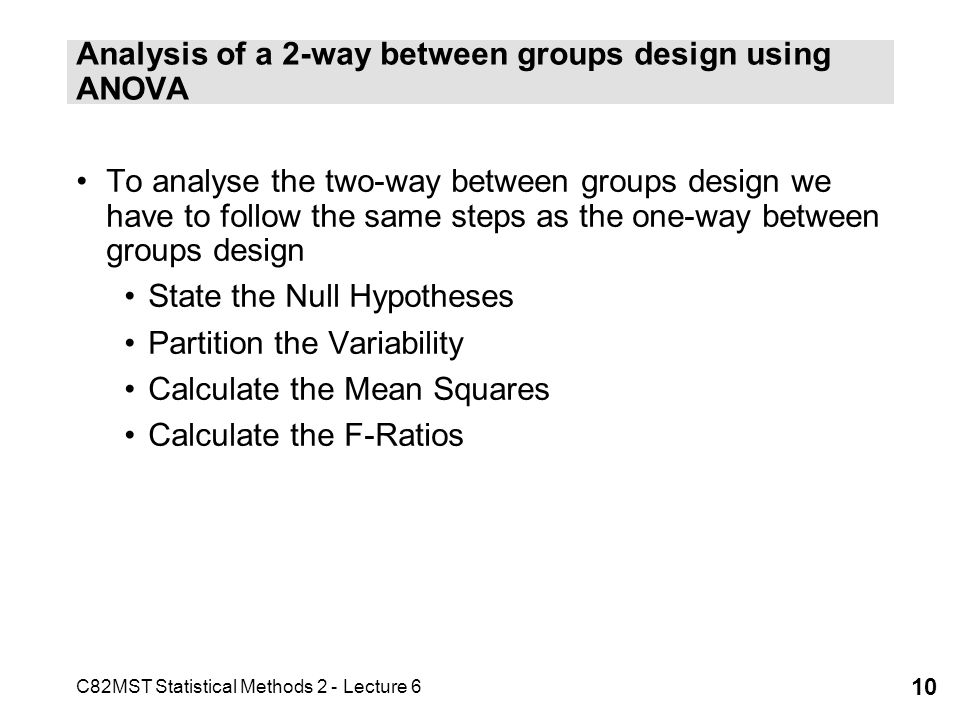 Analysis of a 2-way between groups design using ANOVA