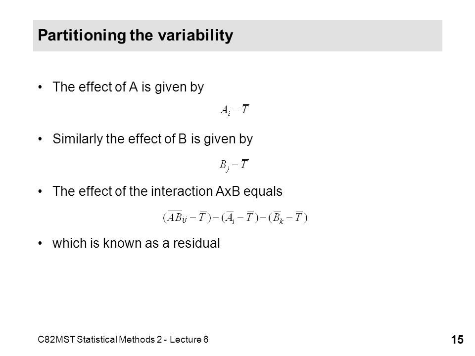 Partitioning the variability