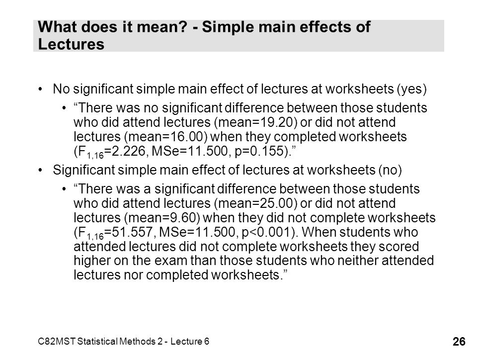 What does it mean - Simple main effects of Lectures