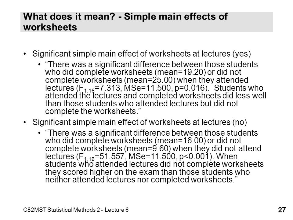 What does it mean - Simple main effects of worksheets