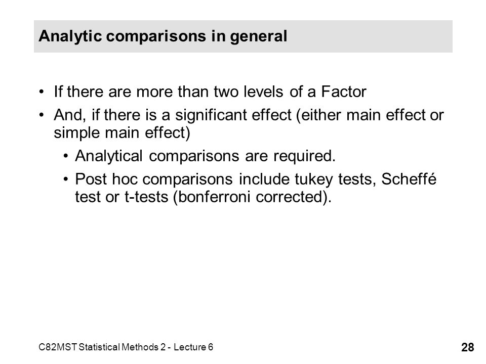 Analytic comparisons in general