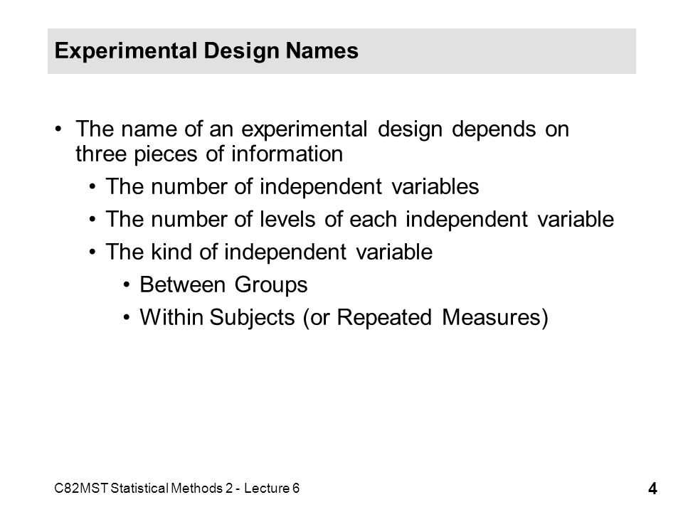 Experimental Design Names