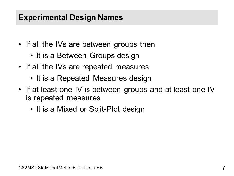 Experimental Design Names