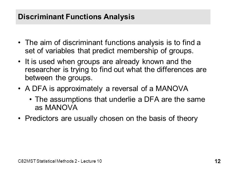 Discriminant Functions Analysis