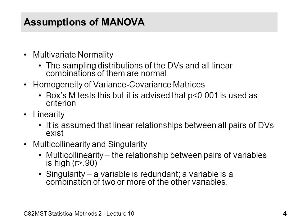 Assumptions of MANOVA Multivariate Normality