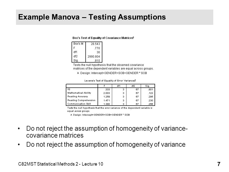 Example Manova – Testing Assumptions