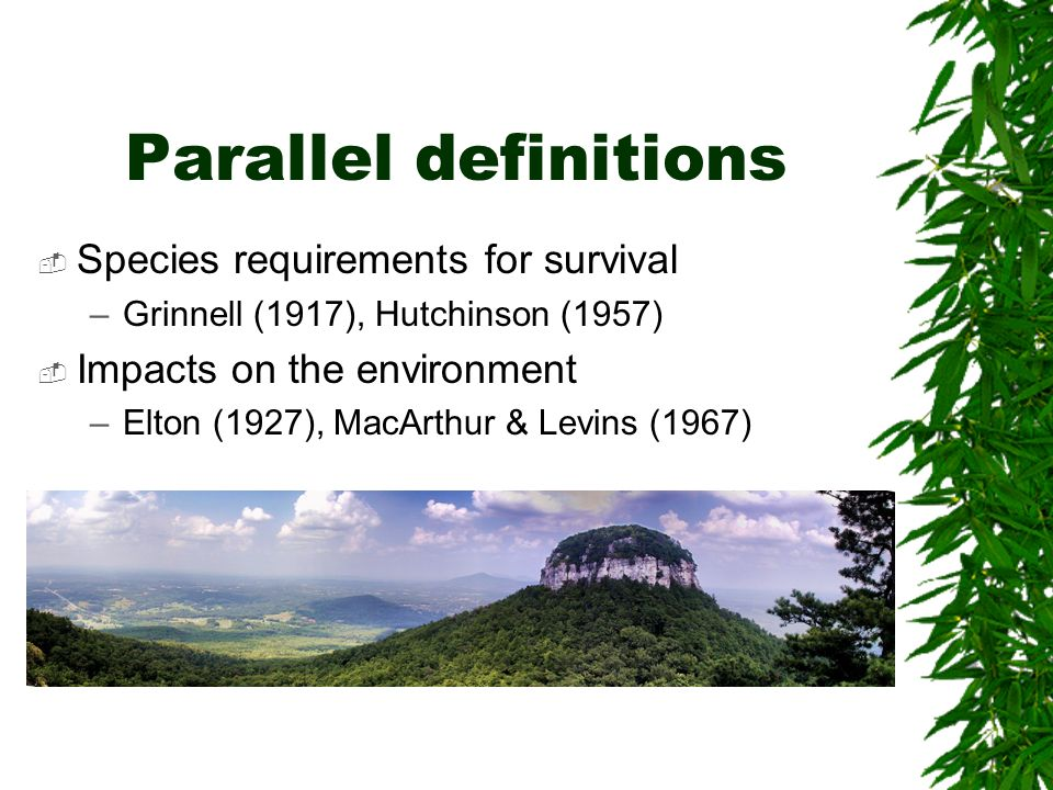 Parallel definitions Species requirements for survival