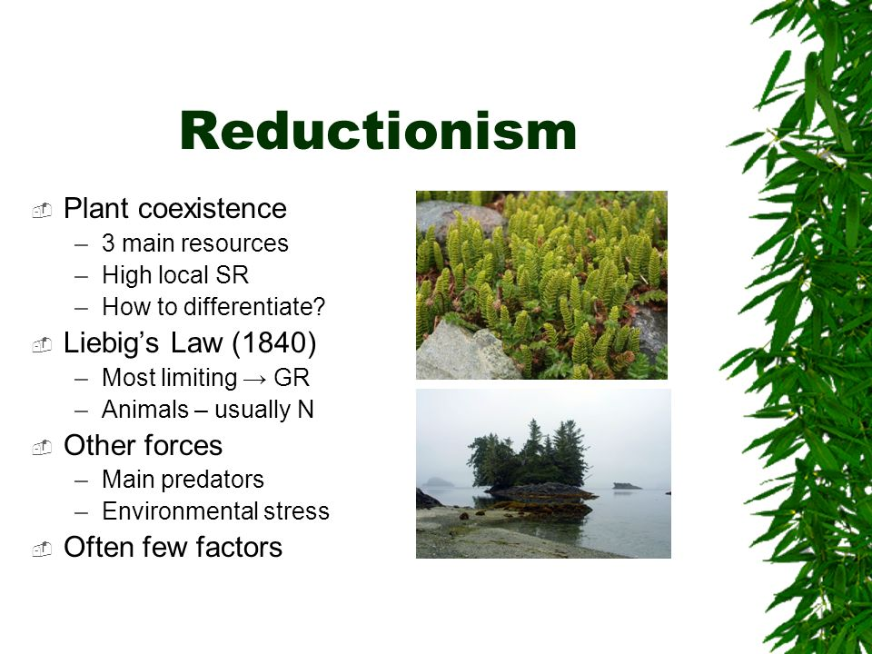 Reductionism Plant coexistence Liebig's Law (1840) Other forces
