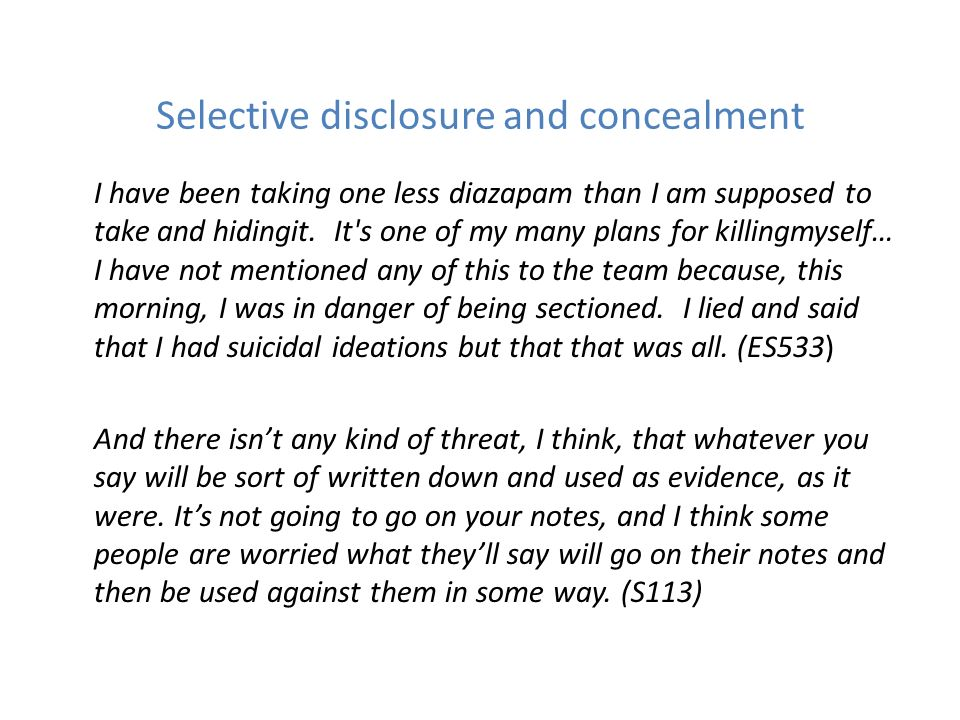 Selective disclosure and concealment