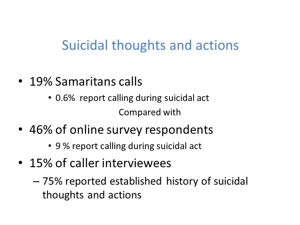 Suicidal thoughts and actions