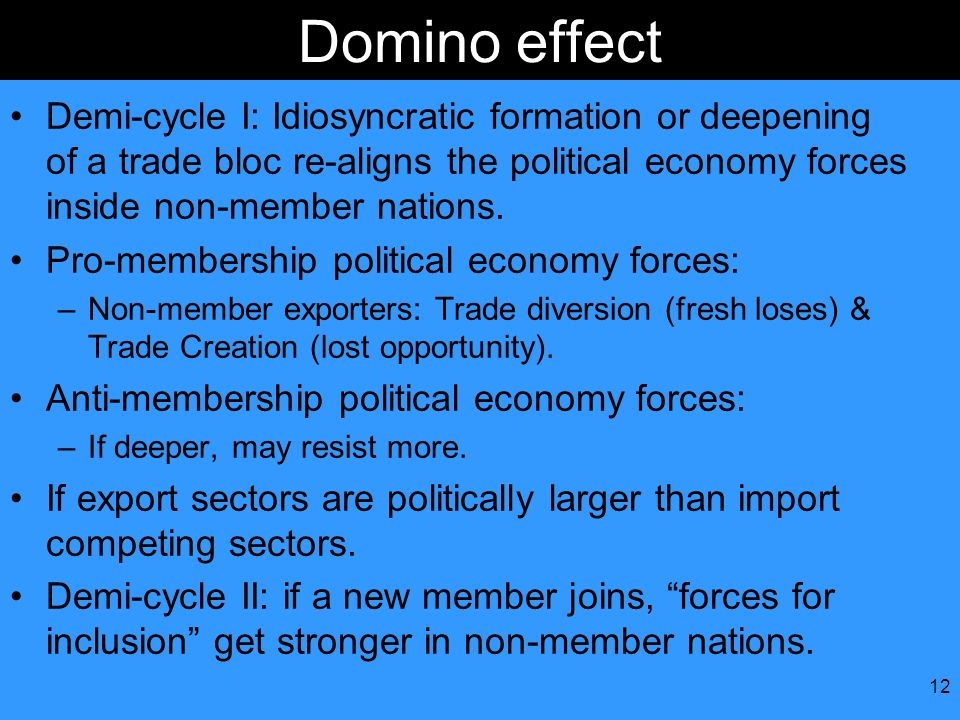 Domino effect Demi-cycle I: Idiosyncratic formation or deepening of a trade bloc re-aligns the political economy forces inside non-member nations.