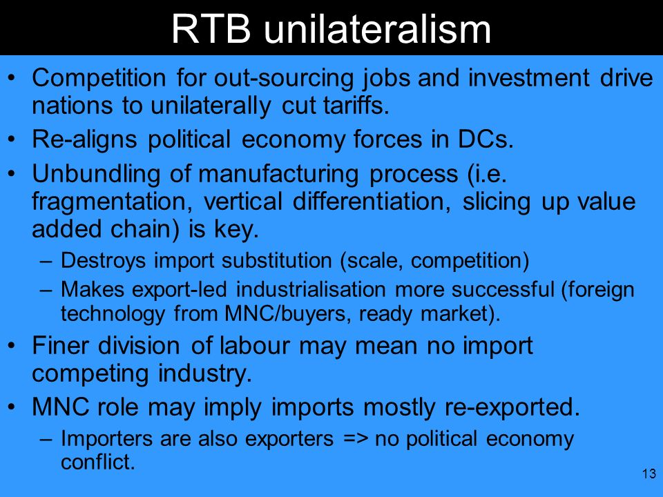 RTB unilateralism Competition for out-sourcing jobs and investment drive nations to unilaterally cut tariffs.