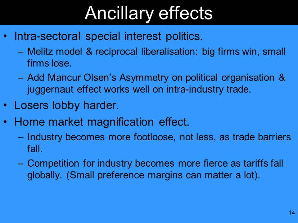 Ancillary effects Intra-sectoral special interest politics.