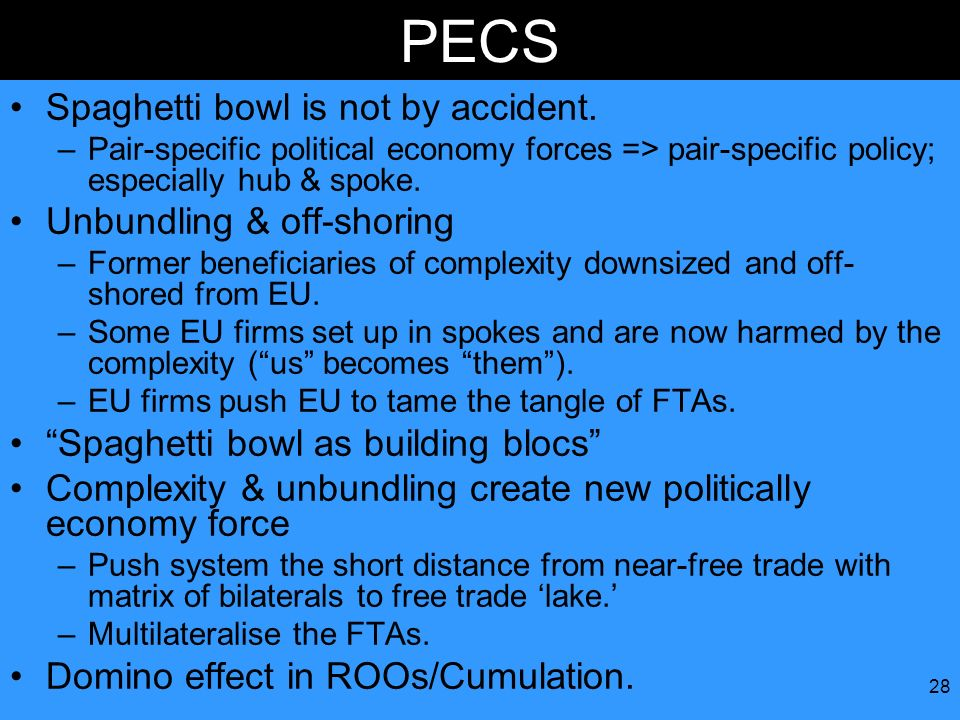 PECS Spaghetti bowl is not by accident. Unbundling & off-shoring