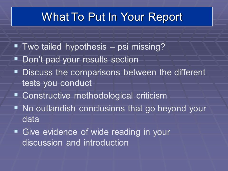 What To Put In Your Report