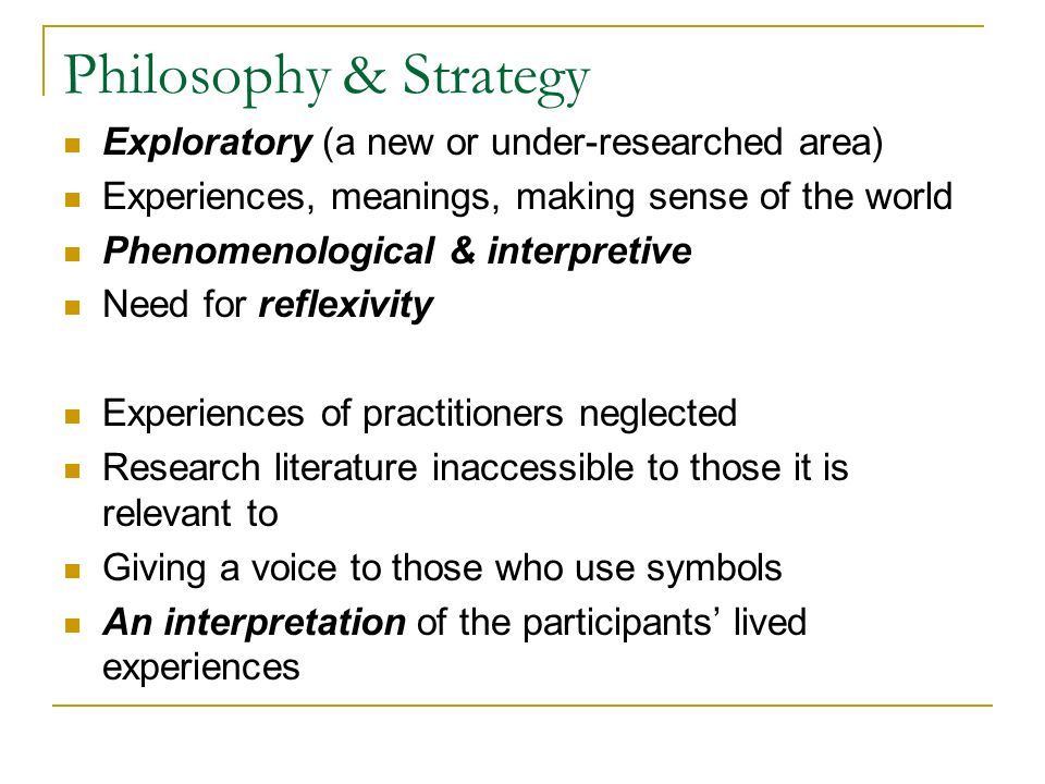 Philosophy & Strategy Exploratory (a new or under-researched area)
