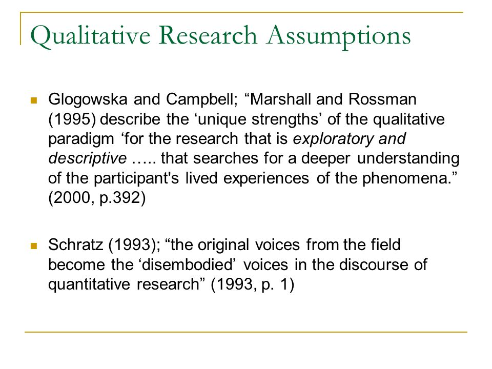 Qualitative Research Assumptions