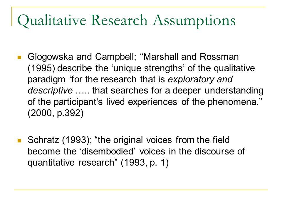 Qualitative Research Assumptions