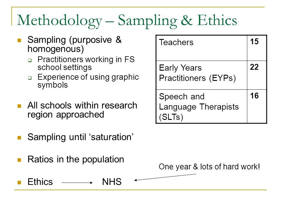 Methodology – Sampling & Ethics