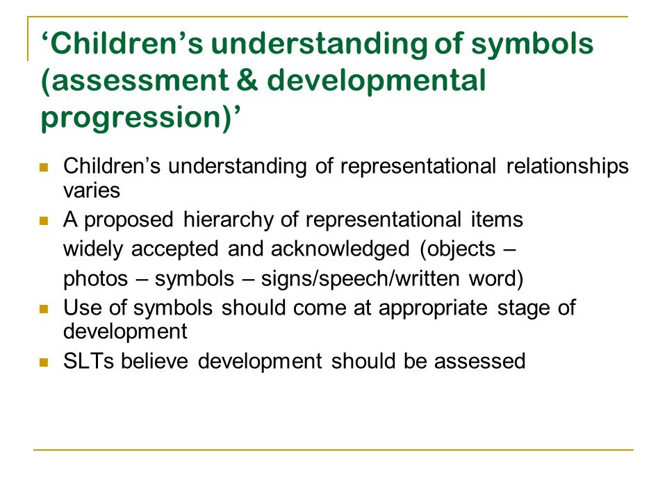 'Children's understanding of symbols (assessment & developmental progression)'