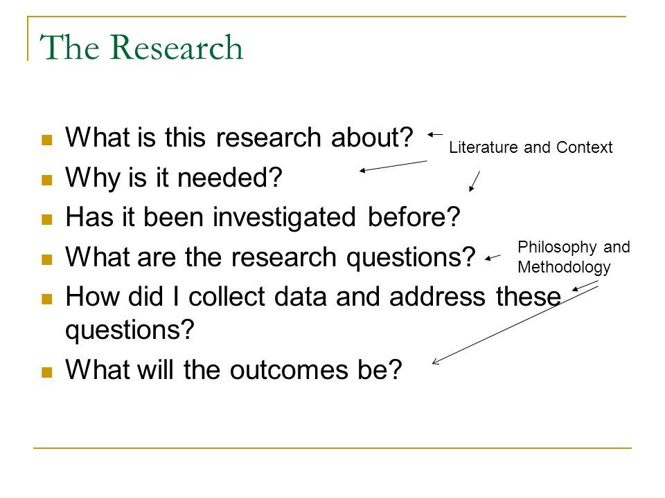 The Research What is this research about Why is it needed
