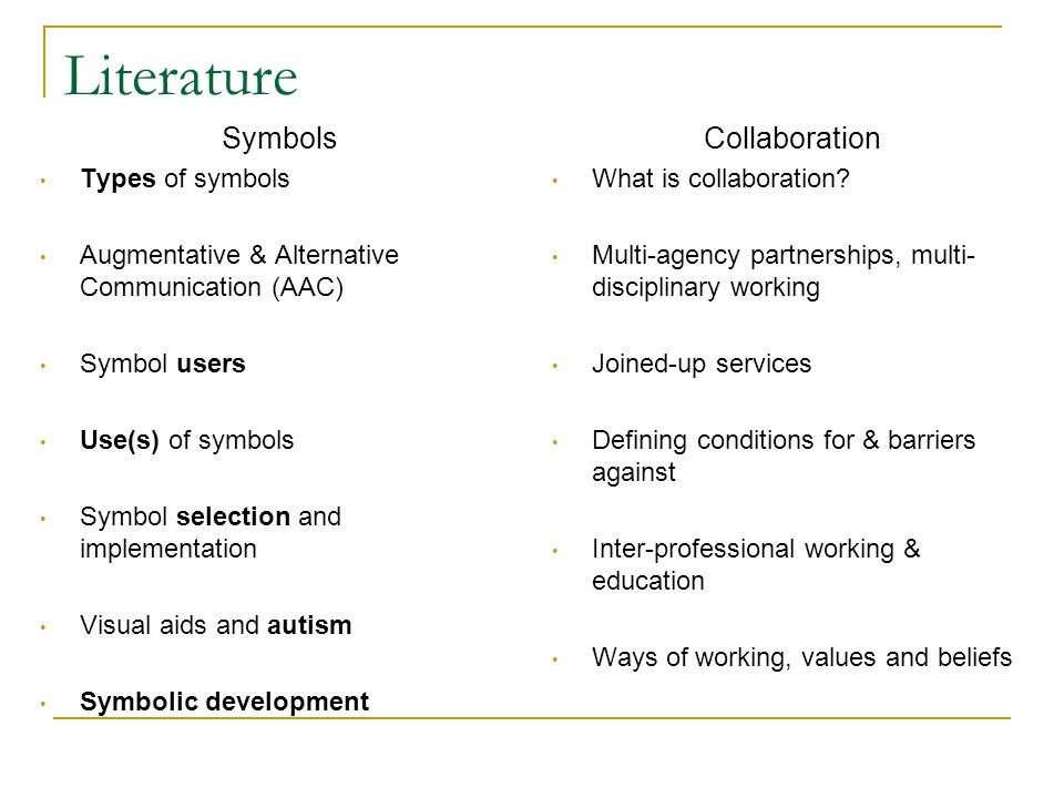 Literature Symbols Collaboration Types of symbols